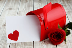 Heart background. Heart on wood background with mailbox with copy space Stock Photo