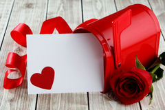 Heart background. Heart on wood background with mailbox with copy space Stock Photography