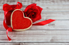 Heart background. Heart on wood background with mailbox with copy space Royalty Free Stock Photo