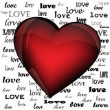 Heart on the background of the word love Stock Images