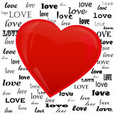 Heart on the background of the word love Royalty Free Stock Images