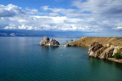 The heart of Baikal - the rock Shamanka royalty free stock images