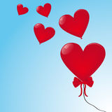 Heart ballons. Flying in the sky Royalty Free Stock Photography
