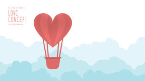 Heart balloon floating in the sky freely and clouds flat vector. Royalty Free Stock Photo