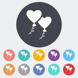 Heart balloon. Single flat icon on the circle. Vector illustration Stock Images