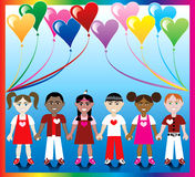 Heart Balloon Kids 1. Vector Illustration of 10 Heart balloons with a colorful background and kids holding hands with Love colors and Hearts Stock Image