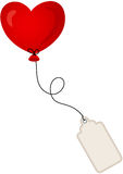 Heart balloon with label tag Stock Photos