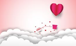 Heart balloon with letters and Valentine`s Day pink background and clouds. In the form of paper art royalty free illustration