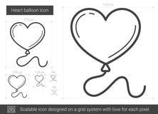 Heart balloon line icon. Royalty Free Stock Photos