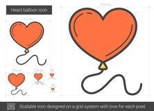 Heart balloon line icon. Stock Photo