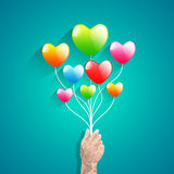 Heart balloon and Polygon hand.abstract love vector illustration Stock Photos