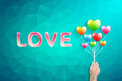 Heart balloon and Polygon hand.abstract love vector illustration Royalty Free Stock Image