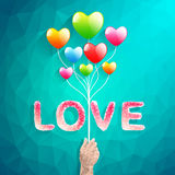 Heart balloon and Polygon hand.abstract love vector illustration Royalty Free Stock Images