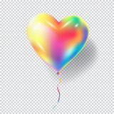 Heart Balloon. On transparent checkered background for Birthday, Holiday, Christmas, Carnival, Festival, Masquerade invitation background design. Bright Stock Photos