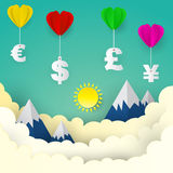 Heart balloon with US Dollar, Euro, Great Britain Pound, Japanes. E Yen , paper art style ,business concept and idea.  illustration Royalty Free Stock Images