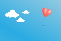 Heart balloon vector. Vector of a heart balloon in the sky Stock Images