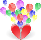Heart with balloons Stock Photography