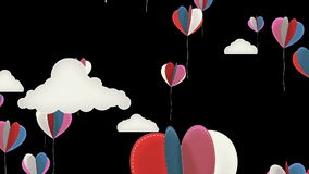 Heart Balloons Background Animation for Valentines Day and Wedding. stock video