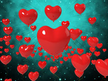 Heart Balloons On Background Shows High In Stock Image