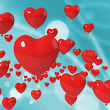 Heart Balloons On Background Shows Valentines Stock Photography