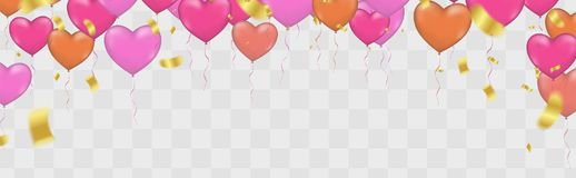 Heart balloons banner celebration gold confetti. vector backgrou. Nd ,Gold confetti celebration party Royalty Free Stock Images