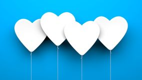 Heart Balloons on blue background. Valentines Day metaphor Royalty Free Stock Photography