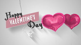 Heart balloons floating with valentines greeting. Digital animation of Heart balloons floating with valentines greeting stock footage