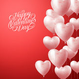 Heart Balloons Flying in Red Background for Valentines Background Royalty Free Stock Image