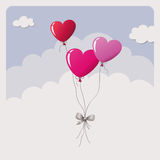 Heart balloons flying in the sky Royalty Free Stock Photo