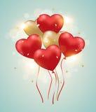 Heart balloons on a green background. Stock Photos