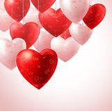 Heart Balloons Hanging for Valentines Background and Greetings Card Stock Photo