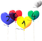 Heart balloons 2014 Royalty Free Stock Photography
