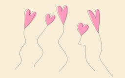 Heart balloons  illustration. Vector illustration of handdrawn heart shaped balloons Royalty Free Stock Image