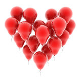 Heart balloons isolated on white. 3d illustration Royalty Free Stock Photos