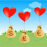 Heart balloons with money bags. Heart balloons with money in 3 currencies Stock Photos