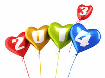 Heart balloons New Year 2014. And colorful balloons render (isolated on white and clipping path Stock Images