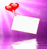 Heart Balloons On Note Displays Passionate Letter Or Romantic Me Royalty Free Stock Images