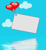Heart Balloons On Note Displays Sweet Invitation Or Affection No Stock Images