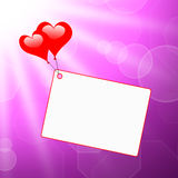 Heart Balloons On Note Means Passionate Letter Royalty Free Stock Photography