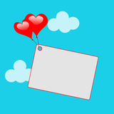 Heart Balloons On Note Means Sweet Invitation Stock Photo