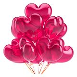Heart balloons party happy birthday decoration red pink in love. Heart balloons party happy birthday decoration love red pink glossy. Valentines Day holiday Stock Photography