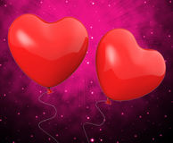 Heart Balloons Show Mutual Attraction And Stock Photography