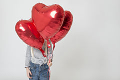 Heart Balloons. Taken in the studio with an octobox and softbox Royalty Free Stock Images