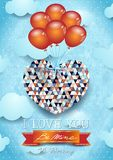 Heart with balloons, Valentine card Royalty Free Stock Images