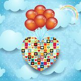 Heart and balloons Royalty Free Stock Images