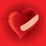 Heart with band aid illustration Stock Images