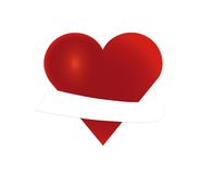 Heart with banner. Red heart with a white banner around Royalty Free Stock Image
