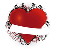 Heart with banner. Red heart with a white banner and grunge Royalty Free Stock Photo