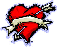 Heart & Banner. Illustrated Heart with Arrow and Banner Royalty Free Stock Photography