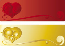 Heart banner. Valentine banner, tattoo ornament, Valentine desire Royalty Free Stock Images